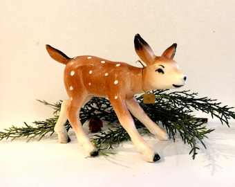 Vintage Bisque Deer Fawn, ArtMark, made in Japan, Cabin Decor, Mid Century Deer, Gold Sticker Attached, Circa 1950s