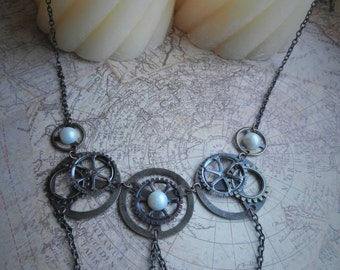 Steampunk Gear and Pearl Necklace