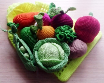 set of 10 pieces, pretend play toy, play food,crochet vegetables,eco-friendly toy