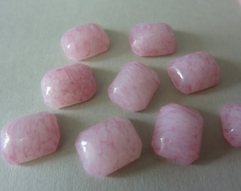 6 glass cabochons, 10x8mm, marbled light pink, octagon