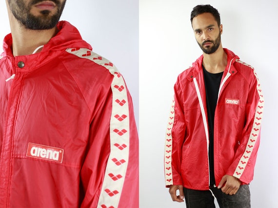 Red Festival Jacket Shell Jacket Vintage Rain Jacket Arena Jacket Festival Windbreaker Red Jacket Men Raincoat Vintage Raincoat Arena Tape