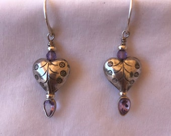 Hill Tribe Sterling Silver Heart Earrings with Amethyst Drops