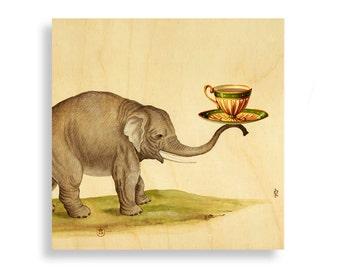 Gift Ideas for Tea Lovers, Print on Wood, Tea lover, Tea lover gift, wall art, art print, Tea lover print, Elephant art