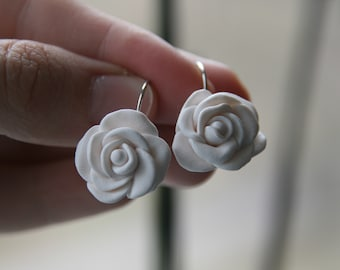 Polymer clay white rose Earrings, Wedding bridal Jewelry, Bridesmaids Gift