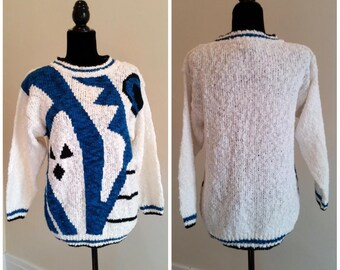 statement sweater abstract sweater ghost pullover vintage chunky sweater white and blue sweater holiday sweater retro sweater women's medium