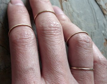 Tiny Solid 14k Gold Thread Micro Knuckle Ring for Midfinger in Choice of Finish - Hammered, Brushed Matte, or Smooth Midi Ring - 1mm Band