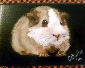 Guinea Pig ACEO ,small pet portrait on aceo, gerbil portrait. 2-1/2 x 3 -1/2 portrait aceo on easel,art trading card, aceo magnet