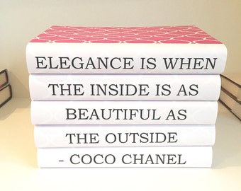Coco Chanel Quote, Elegance is When The Inside is as Beautiful as the Outside, Chanel Book Set, Chanel Decor, Chanel Quote, Gift for Friend