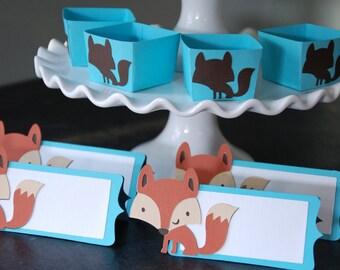 Paquet Fox, Fox cartons, les étiquettes des aliments Fox, Fox coupelles de bonbons, douche de bébé,