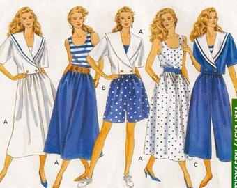 A Full Flared Skirt, Culottes & Shorts, Tank Top, and Double Breasted Jacket Pattern for Women: Uncut - Sizes 12-14-16 • Butterick 4736