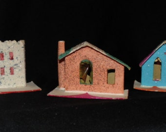1950s Set of 3 Mica Christmas Houses (One Church)