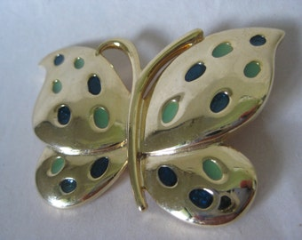 Butterfly Green Gold Brooch Vintage Pin
