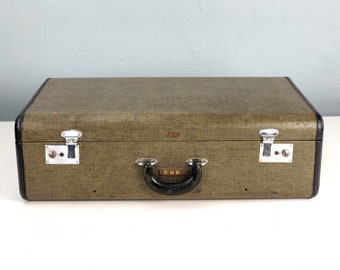 Vintage Tweed Hartmann Suitcase with Leather Trim and Leather Handle, Two Keys with Initials, FIlm Prop, 1930s 1940s Theater Stage Decor
