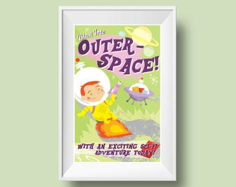 Kids Room Decor- Outer Space/Astronaut Themed Retro Mid-Century Style 11 by 17 Inch Childrens/Library Poster: Blast into Outer Space!
