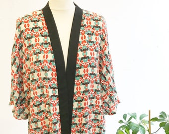 Handmade Kimono in 1920s Style Geometric Print