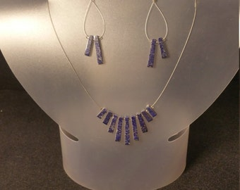 Lapis lazuli stone necklace/earring set