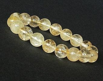 10mm Citrine Bracelet, November Birthstone Bracelet, Natural Citrine Bracelet, Gold Citrine Jewelry, Bracelet Women, Stretch Beaded Bracelet