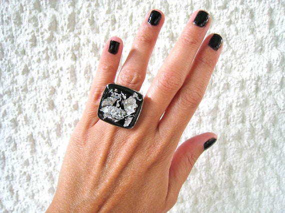 Black and silver ring, silver flakes black resin ring, black statement ring, big chunky square ring, modern minimalist, stainless steel ring