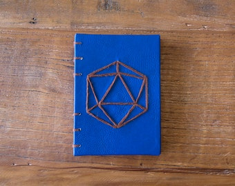 Hand-Made Hardback Leather-Bound Coptic Stitch Pocket Sketchbook/Journal (A6) w/ Pattern