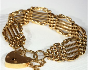 """Wide Antique Victorian Gate Bracelet, 15k Gold, 7"""""""