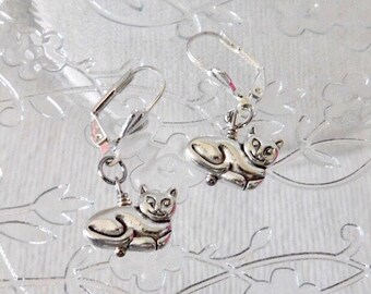Silver Cat Earrings, Cat Jewelry, Cute Earrings, Animal Earrings, Cat Lover, Animal Lover