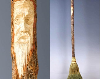 Hand Carved Kitchen Broom Sweeper in your choice of Natural, Black, Rust or Mixed Broomcorn, with Tree Spirit Wizard Carving Old Man Face
