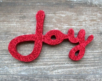 Red Glitter Joy Letter Sign, Christmas Decoration, Mantle Decoration, Holiday Decoration, Wood Joy Sign