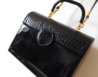 Vintage 1960s Convertible Faux Patent Leather Structured Bag Structured Wearable art Statement Minimalism Shiny Black Small