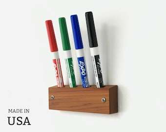 Dry Erase Marker Holder, Wall Marker Holder, Whiteboard Marker Holder for Kitchen, Office, Wood Marker Holder, Wall Mount, Marker Organizer