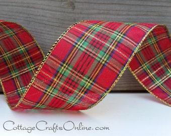 "Christmas Wired Ribbon,  2 1/2"",  Red, Gold Metallic, Green, Blue Tartan Plaid  - THREE YARDS - Offray ""Dover"" Wire Edged Ribbon"