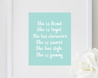 PRINTABLE Inspirational She Quote Motivational Print Typography Poster Nursery Decor Girls Bedroom Wall Print Home Decor