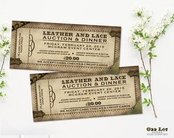 Steampunk Ticket Invitations, Offbeat Party Invitations, Auction Dinner Invite, Auction Tickets, Steampunk Birthday Invitations