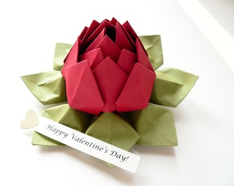 PERSONALIZED Paper Flower - Origami Lotus Flower with Romantic Message and gift box in Deep Red and Moss Green for anniversary, I love you