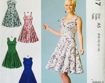 McCall's M7117, Size 6-8-10-12-14, Misses' Dresses' Pattern, UNCUT, Party Dress, Flared Dress, Fun, Bodice Variations, 2015