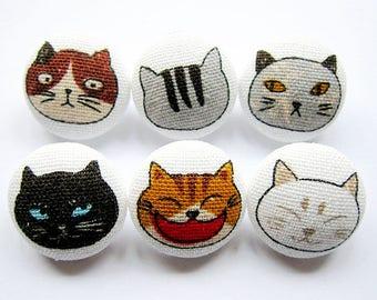 Cat Buttons Sewing Buttons / Fabric Buttons - Cat Portraits - 6 Medium Fabric Buttons Set