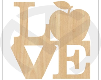 LOVE for teaching - 01603- Unfinished Wood Laser Cut-Out, Door Hanger, Wall Decor, Various Sizes, Teacher Appreciation gift, Ready to Paint