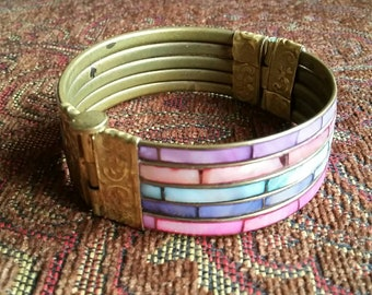 Vintage Inlaid Abalone MOP Shell Wide Cuff Bangle Bracelet.