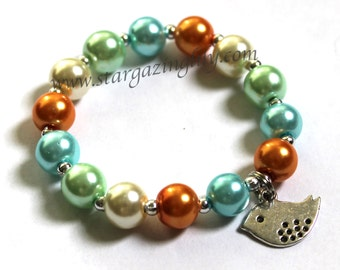 Custom Mix YOU CHOOSE pearl color personalization and charm name bracelet by stargazinglily