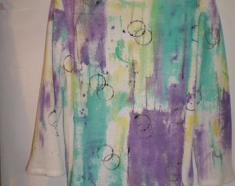Unique Hand painted Acrylic sweater 49.00 One of a kind long sleeve top