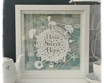 Commercial use, Make your own multi layered 'Home Sweet Home' papercut . Designed by Curious Bird Keepsakes