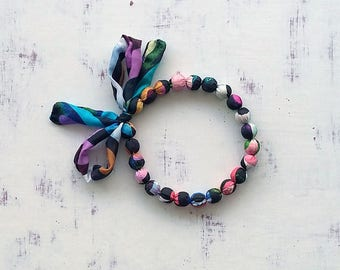 Ribbon tie necklace, adjustable length fabric chocker, unique handmade funky beaded silk scarf, most popular textile jewelry, gift for women