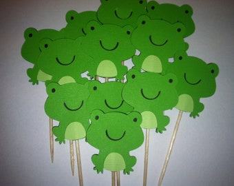 12 Frog cupcake toppers, frog food picks,  cupcake toppers