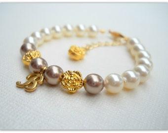 Golden Rose & Swarovski Pearl Initial Bracelet Flower Girl B213