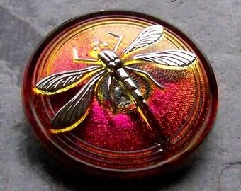Dragonfly Button, Volcano, Platinum, Czech Glass Button, 1 Button