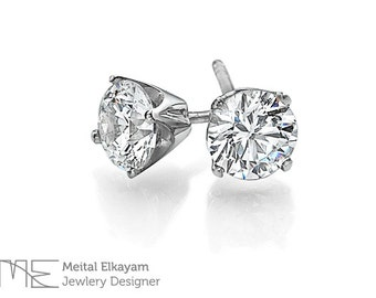 Stud Diamonds Earrings, Round Brilliant Cut Diamond Stud Earrings Total of 0.80CT, 18K Gold Earrings
