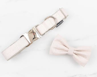 Creamrose Metallic Pearl Collar and Bow Tie Set - Lurex Wedding Dog or Cat Collar