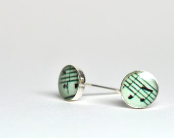 Interlude. Petite Photo studs. Sterling silver