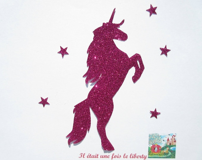 Applied fusible glittery Unicorn rearing flex glittery fuchsia patch glitter Unicorn design iron-on fusible patch