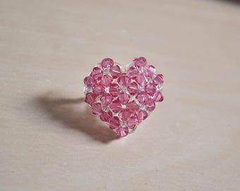 Adjustable pink Swarovski heart ring