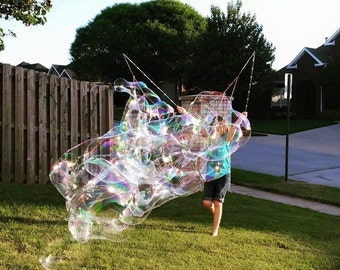 The Honeycomb & GIANT Bubble COMBO Wand - 2 in 1 - Double Bigger Better Bubbles - Best Value Lot's of Fun Great Gift Favors Kids Children